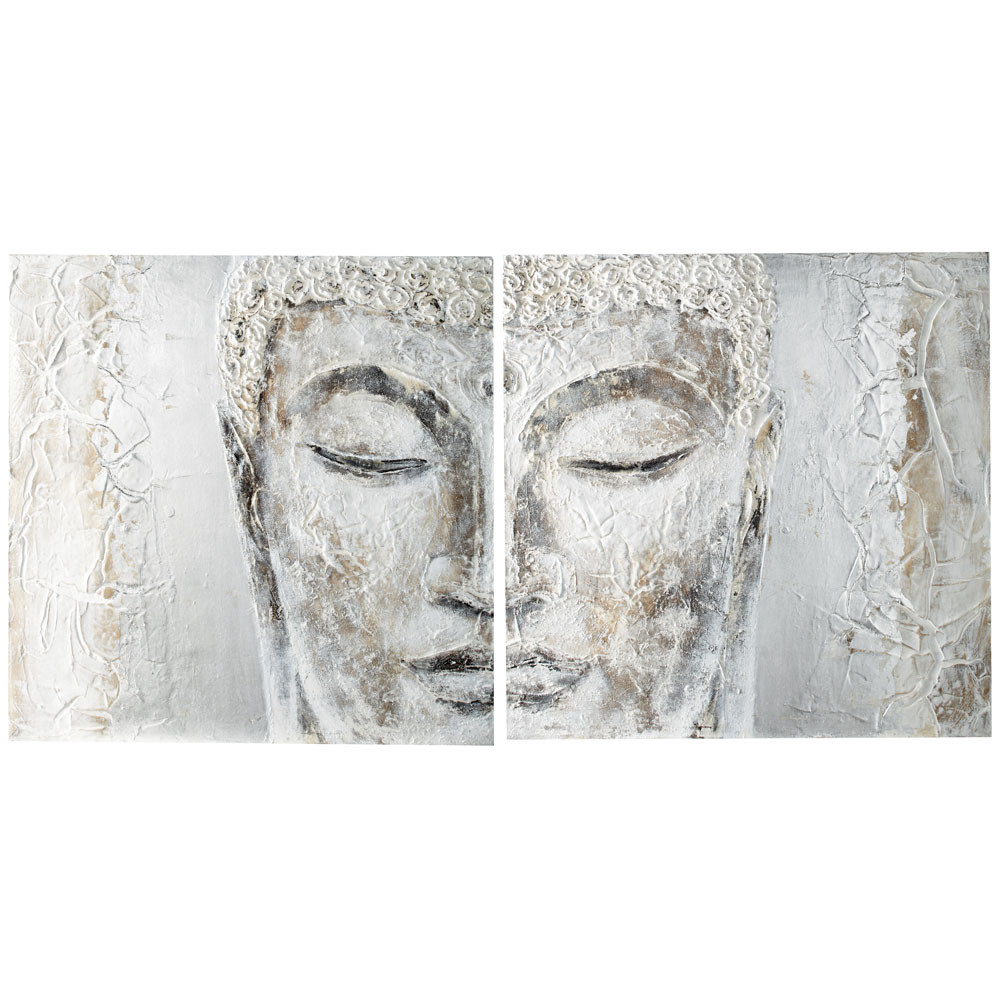 Toile Diptyque Silver Bouddha