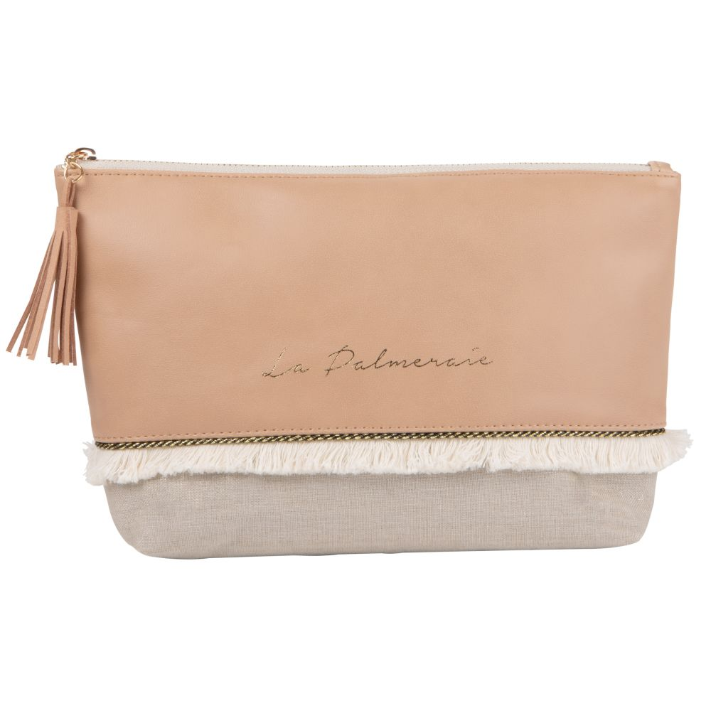 Trousse de toilette beige rosé et franges en coton écru (photo)