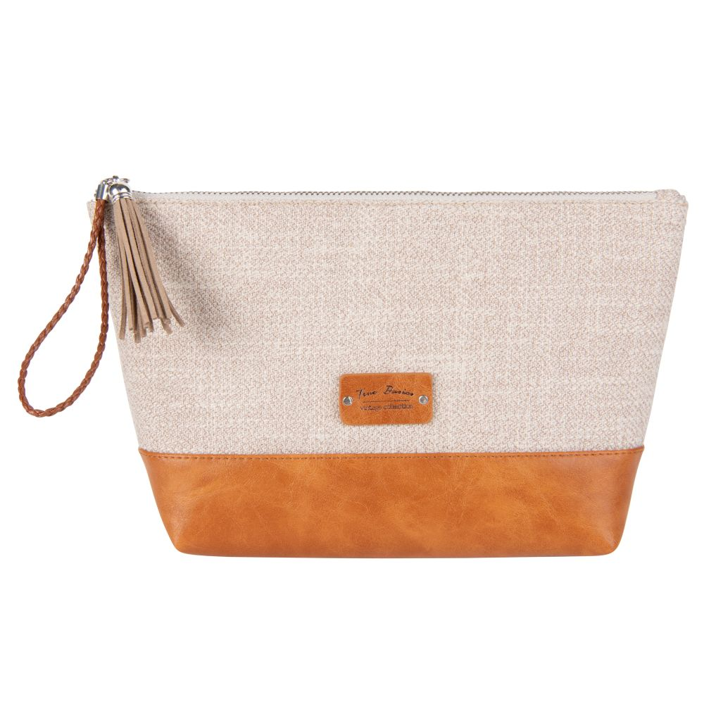 Trousse de toilette en coton beige et imitation cuir marron (photo)