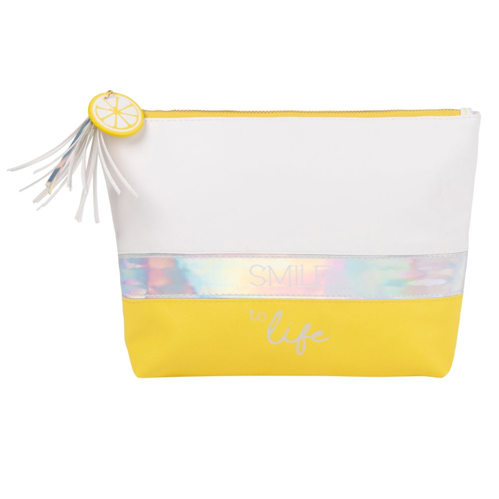 Trousse de toilette tricolore breloques citron et pompon (photo)