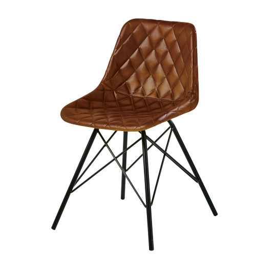 Tufted Brown Leather Industrial Chair