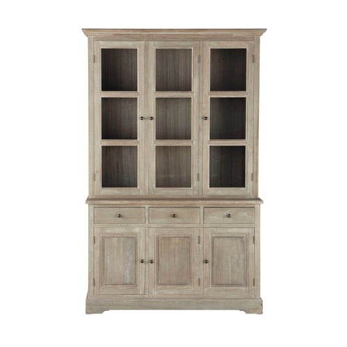 vaisselier en bois de paulownia gris l 130 cm cavaillon maisons du monde. Black Bedroom Furniture Sets. Home Design Ideas