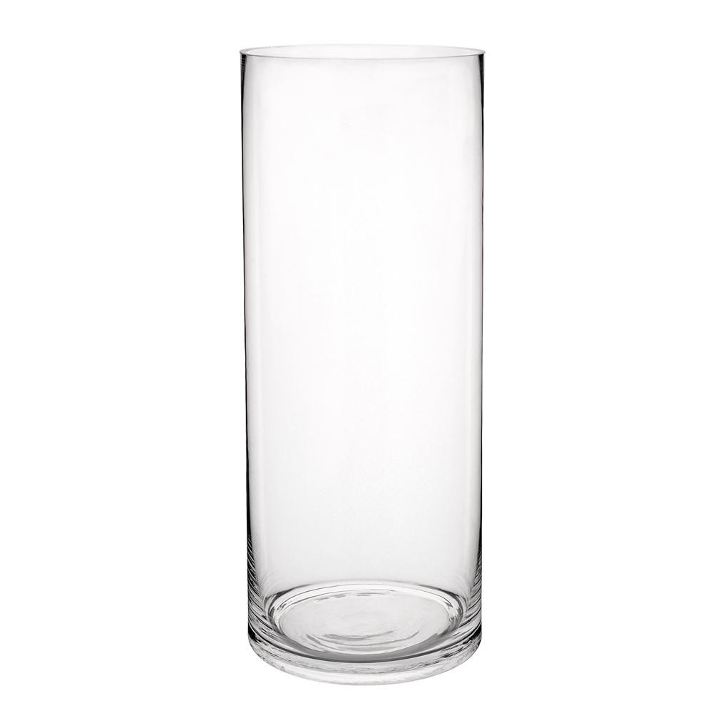 Vase cylindrique en verre H 40 cm (photo)