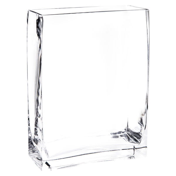 Vase rectangle en verre H 20 cm