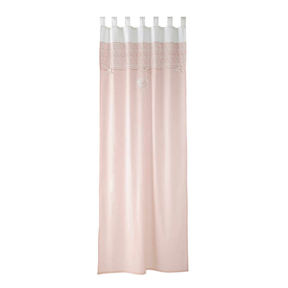 VICTORINE cotton tab top curtain in pink 110 x 250cm