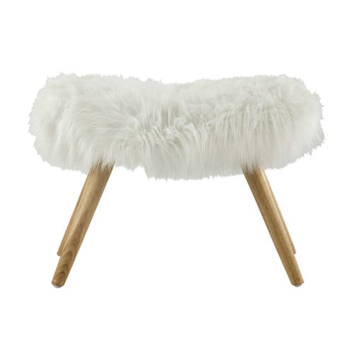 vilma wood and white faux fur stool maisons du monde. Black Bedroom Furniture Sets. Home Design Ideas