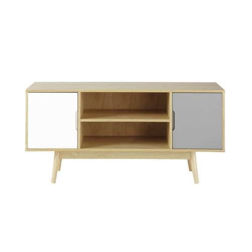 vintage 2 door white and grey tv unit fjord maisons du monde. Black Bedroom Furniture Sets. Home Design Ideas