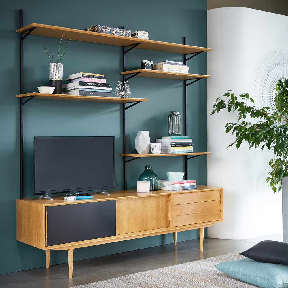 shelf tv display unit wood shelving bookcase storage pin