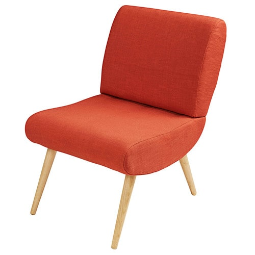 Vintage brick red fabric and solid birch armchair cosmos - Fauteuil copacabana maison du monde ...