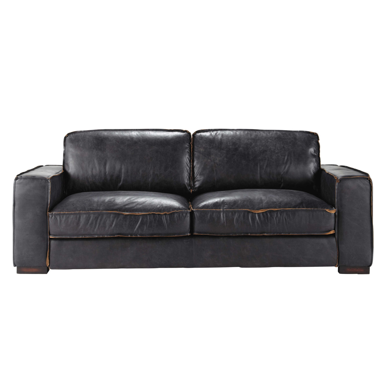 vintage sofa 3 sitzer aus leder schwarz maisons du monde. Black Bedroom Furniture Sets. Home Design Ideas