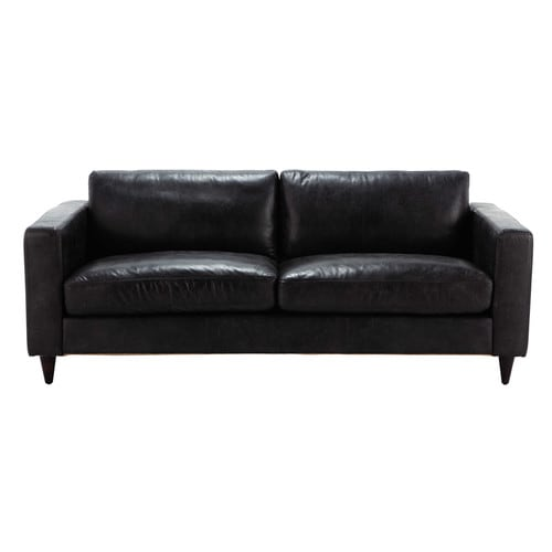vintage sofa 3 sitzer aus leder schwarz henry henry maisons du monde. Black Bedroom Furniture Sets. Home Design Ideas