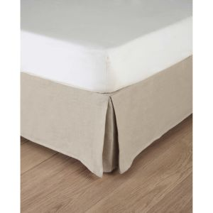 Washed linen bed skirt in beige 160 x 200cm