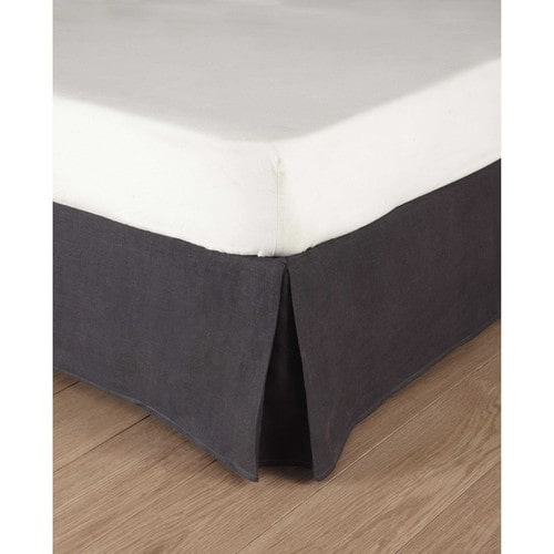 Washed linen bed skirt in charcoal grey 140 x 190cm