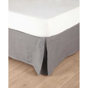 Washed linen bed skirt in grey 180 x 200cm
