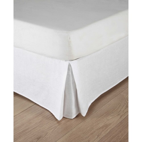 Washed linen bed skirt in white 160 x 200cm