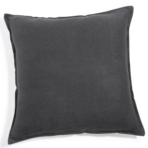 Washed linen cushion in charcoal grey 60x60