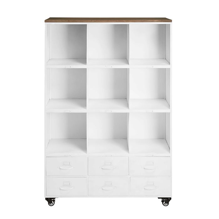 Wheeled Bookcase In White Metal And Pine Bruce