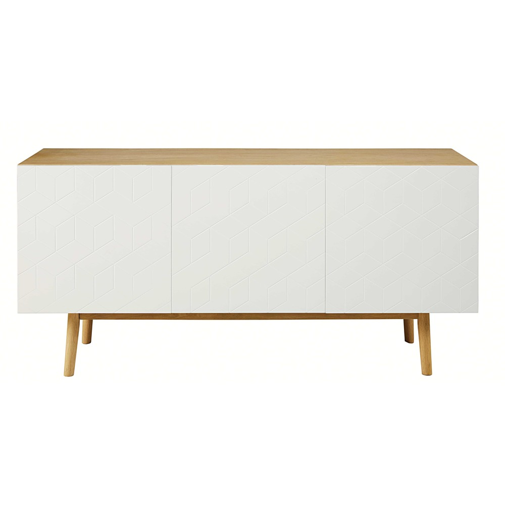 White 3-door sideboard with graphic motifs | Maisons du Monde