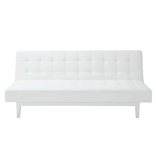 White 3-seater tufted clic clac sofa bed