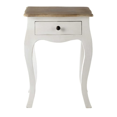 White Acacia and Mango Bedside Table with Drawer