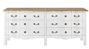 White Acacia and Mango Chest of 6-Drawers