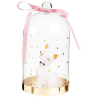 White Cat Candle under Glass Cloche