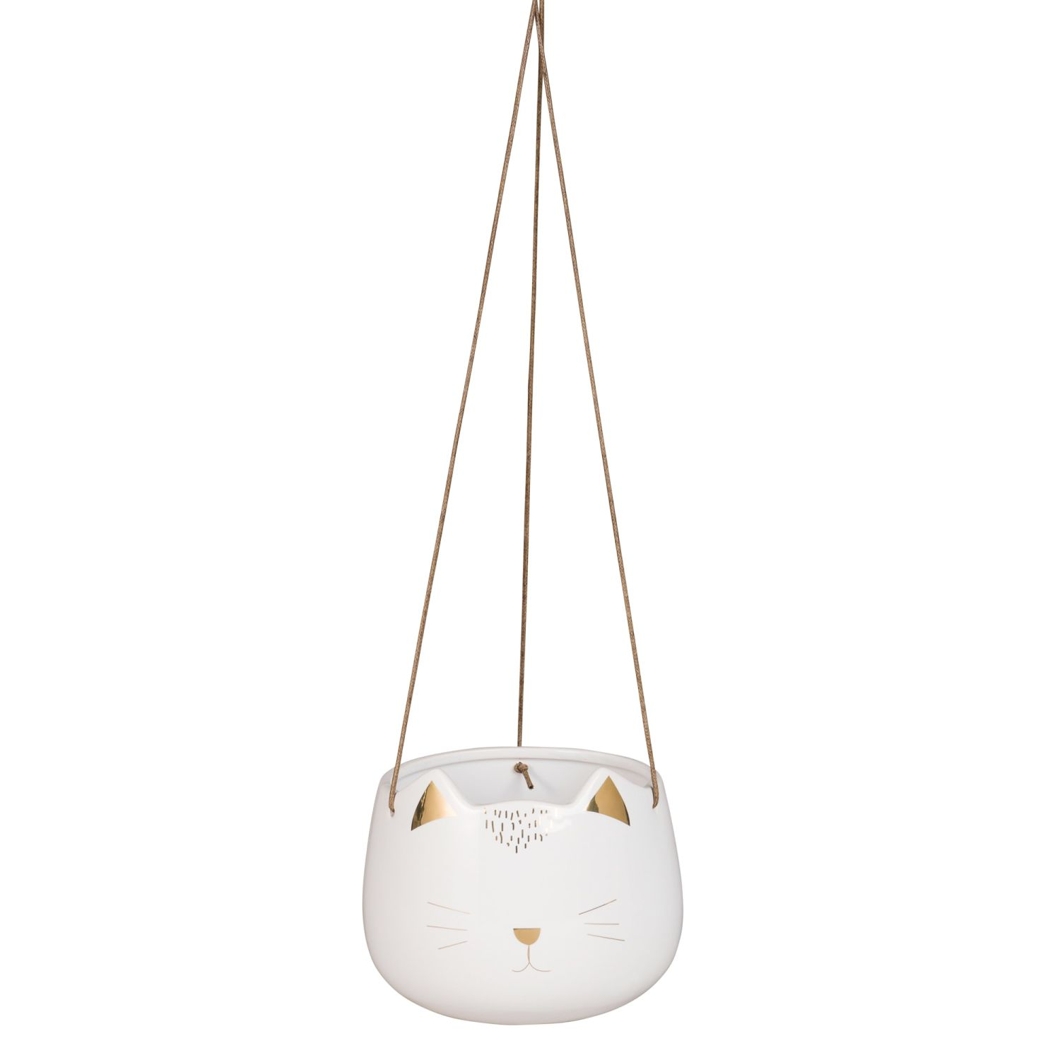 White Ceramic Cat Hanging Planter H12 Maisons Du Monde
