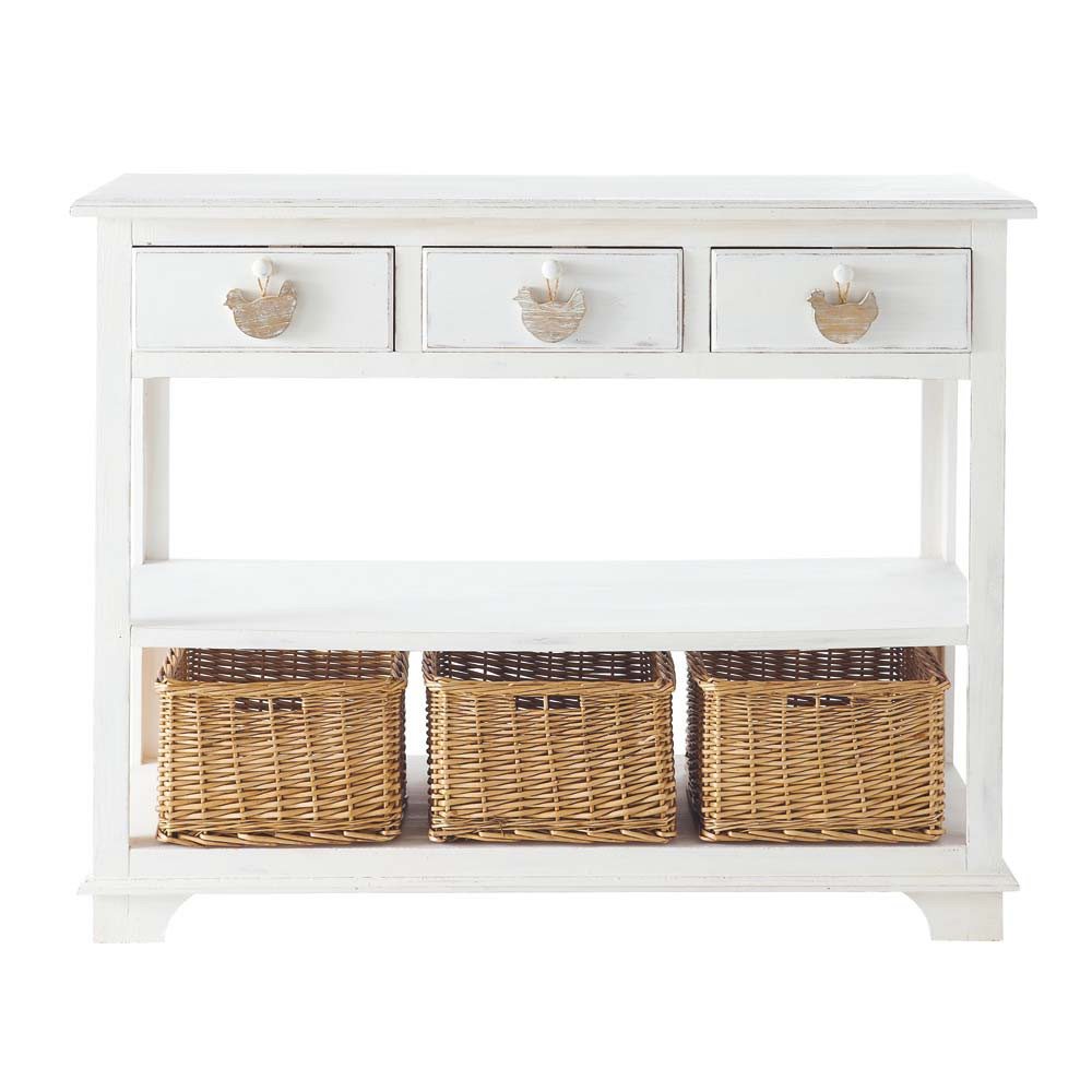 White Console Table With 3 Drawers, 3 Baskets | Maisons du Monde