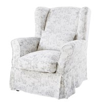 White Cotton Armchair Cover with Toile de Jouy Print 80x98
