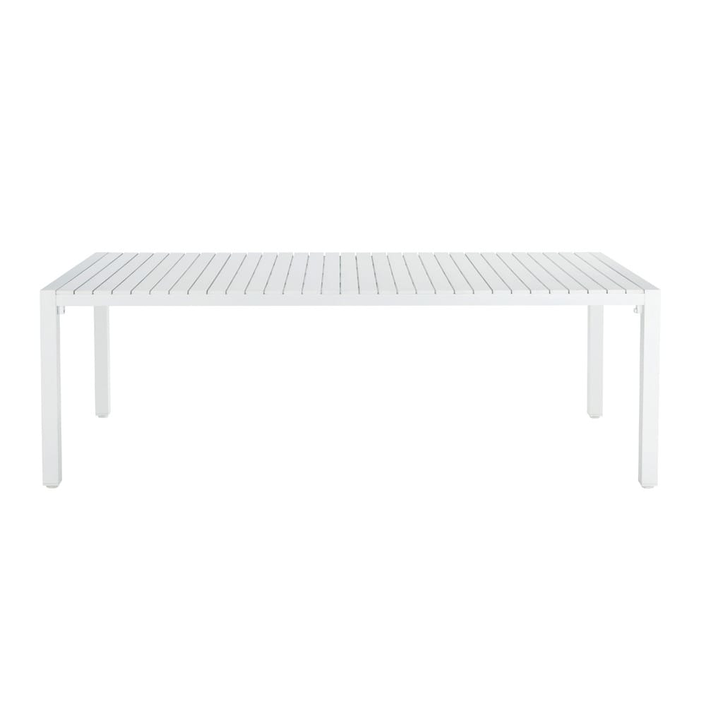 White garden table in aluminium W 230cm