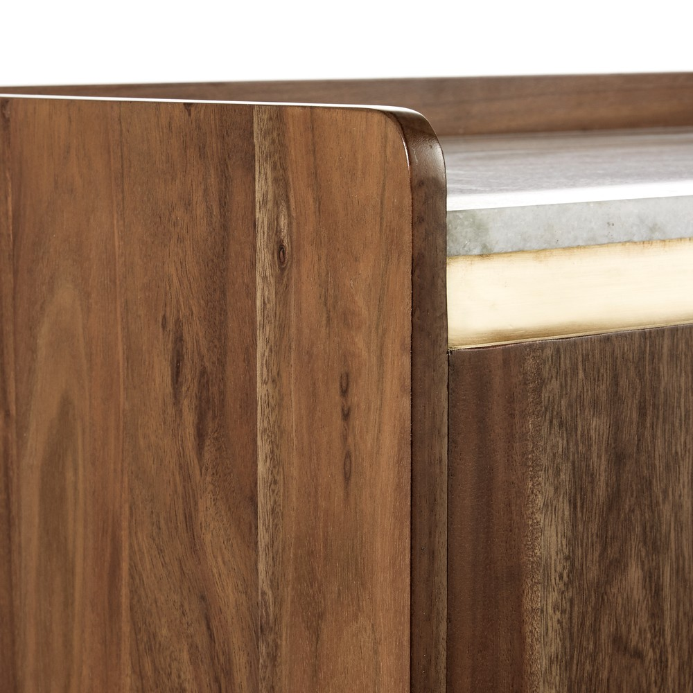 Cappuccino & White Marble and Solid Acacia 2-Door Bar Cabinet | Maisons du Monde