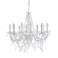 White metal 12 branch chandelier Pampilles
