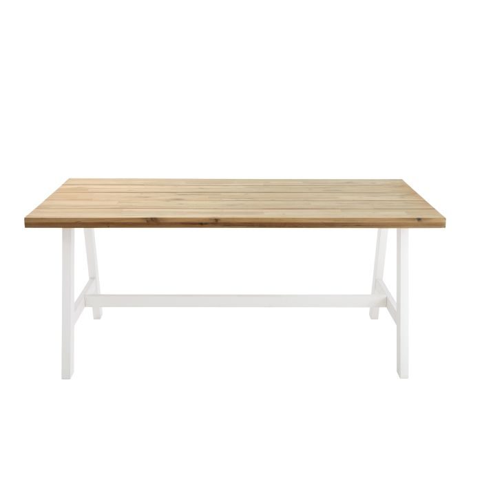 White Metal and Acacia 6-8 Seater Garden Table W 180 cm Countryside ...