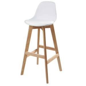 White Scandinavian Bar Chair with Oak