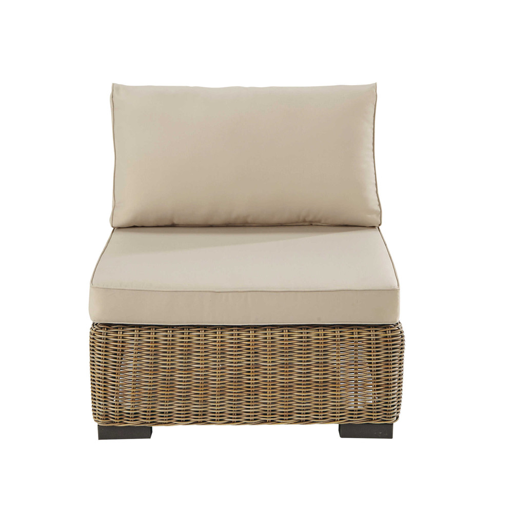 Wicker and fabric armless garden sofa in beige