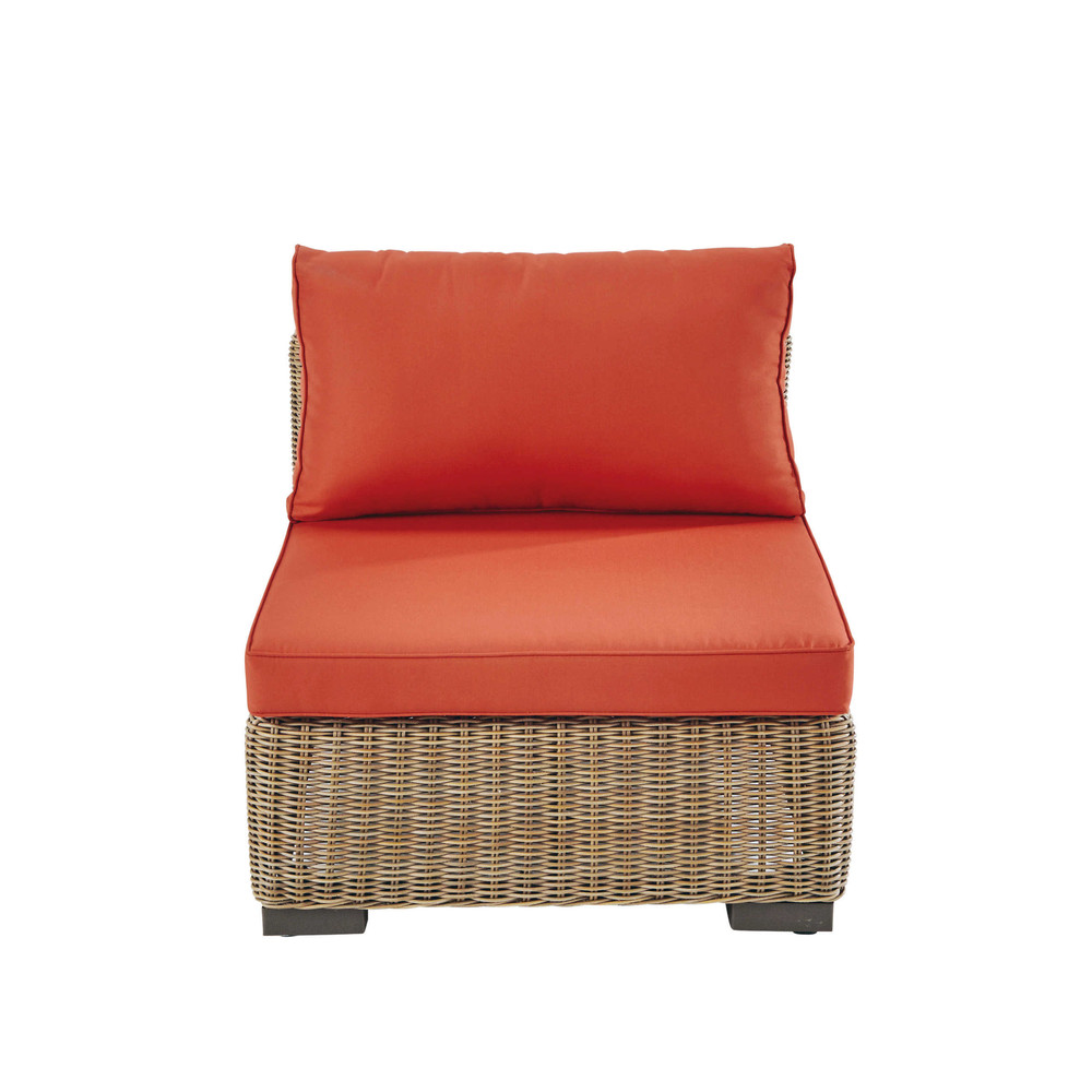 Wicker and fabric armless garden sofa in brick red