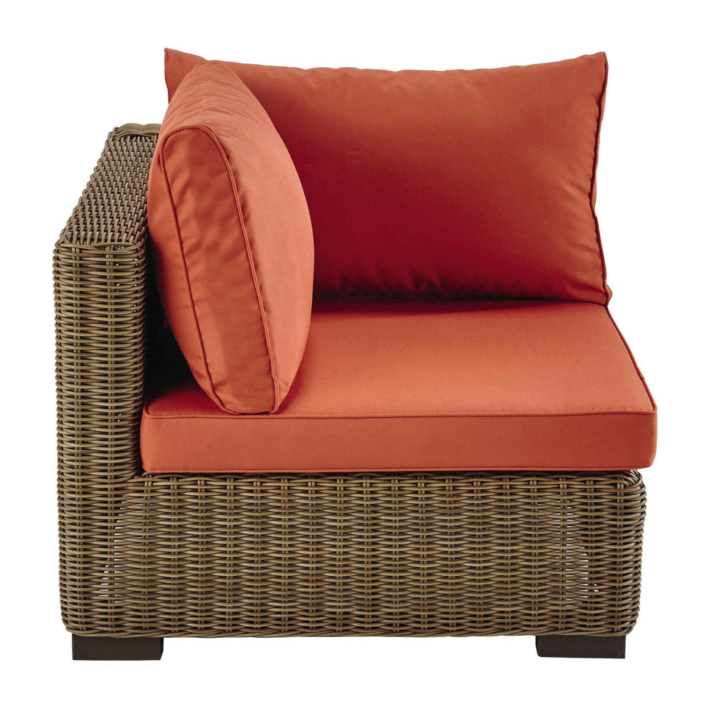 Wicker and fabric sofa corner unit in brick red