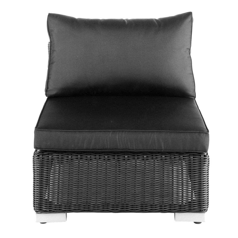 Wicker garden low sofa in ash black Porto
