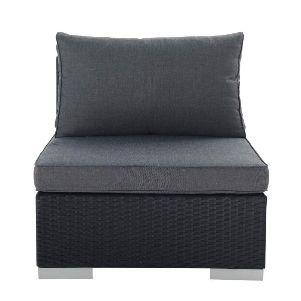 Wicker garden low sofa in black