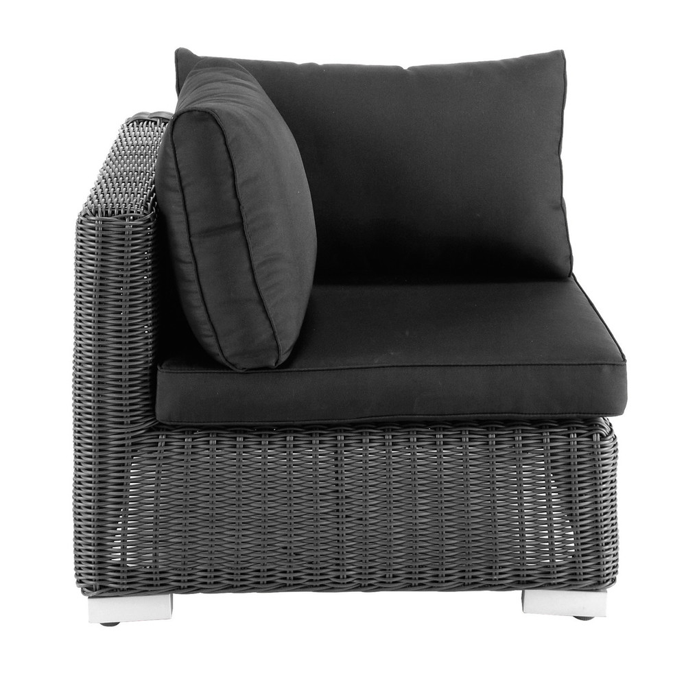 Wicker garden sofa corner unit in ash black Porto