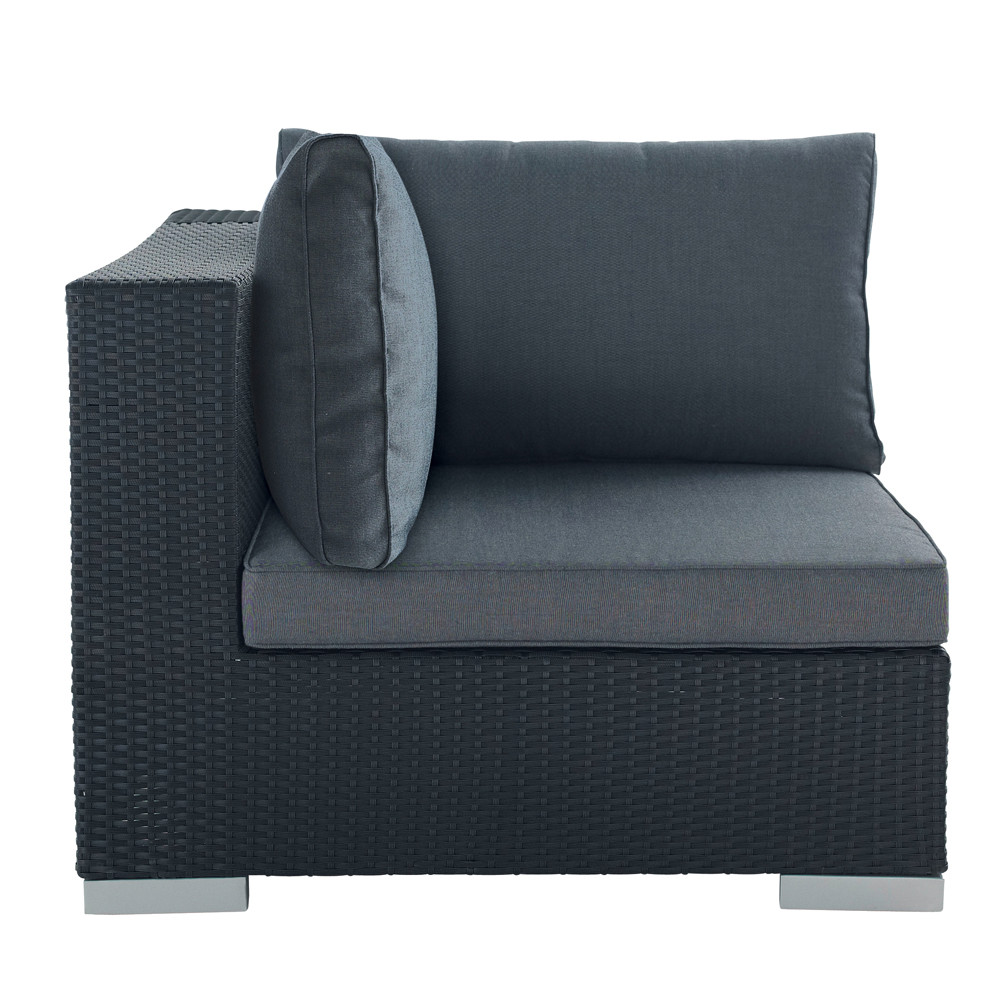 Wicker garden sofa corner unit in black