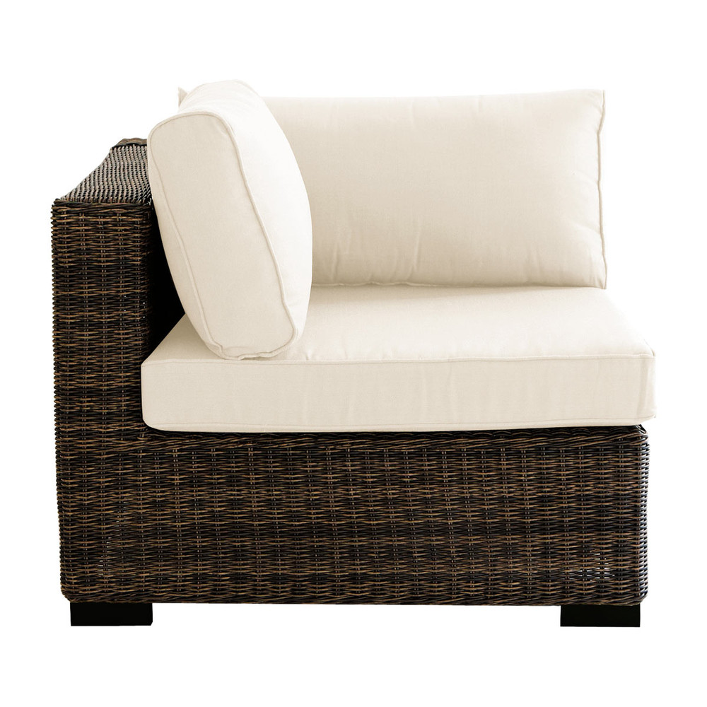 Wicker garden sofa corner unit in brown