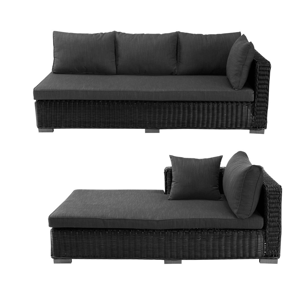 Wicker outdoor corner sofa in ash black Porto