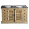 Wood and blue stone twin basin unit W 148cm - Persiennes