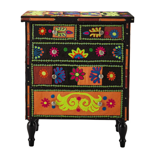 Wood And Jute Chest Of Drawers Multicoloured W 75cm Tzigane Maisons Du Monde
