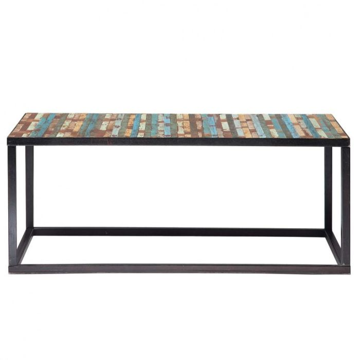 Wood And Metal Coffee Table Multicoloured W 100cm
