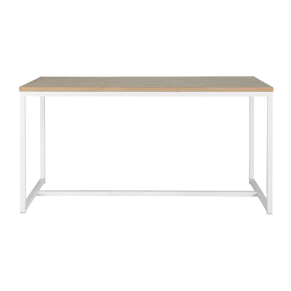 Wood and metal dining table in white W 150cm