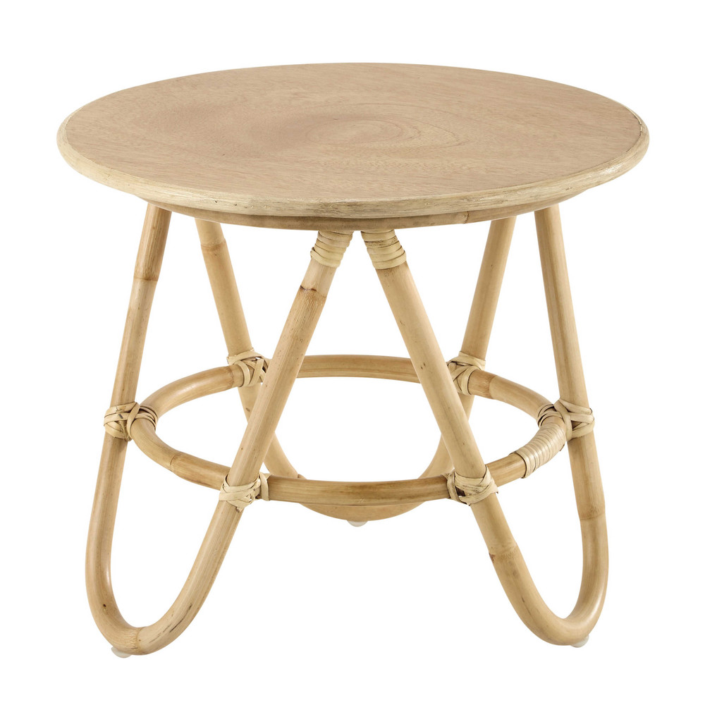 Wood and rattan round coffee table D 46cm