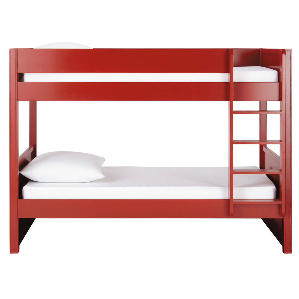 Wooden 90 x 190cm bunk beds in red