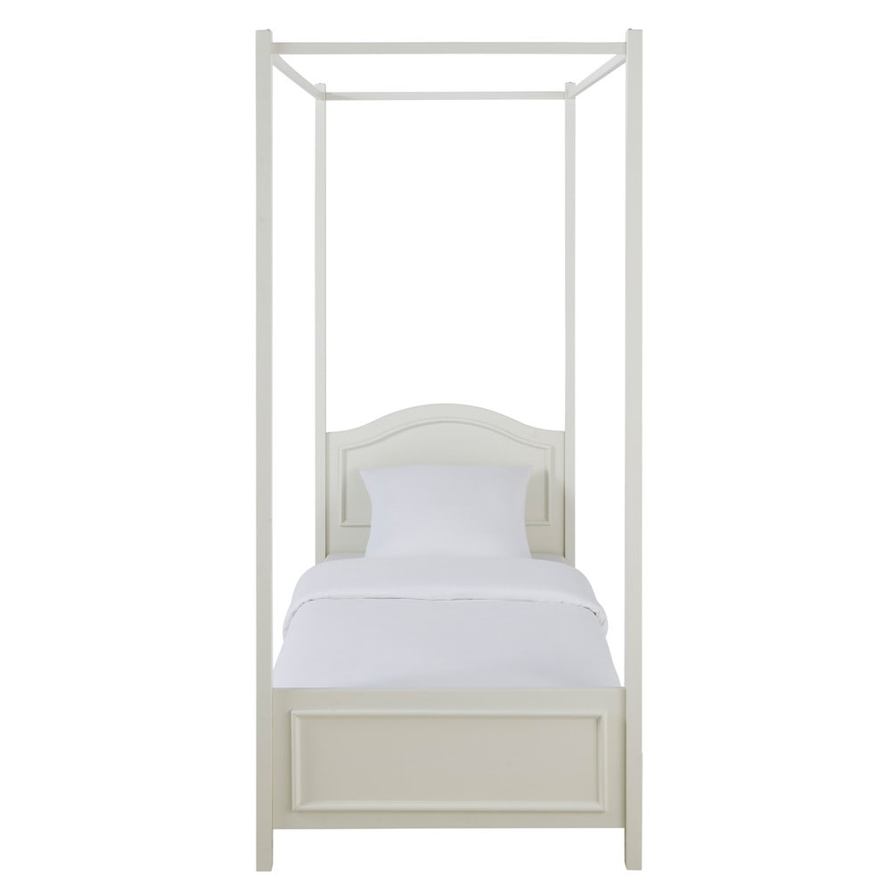 Wooden 90 x 190cm fourposter bed in white